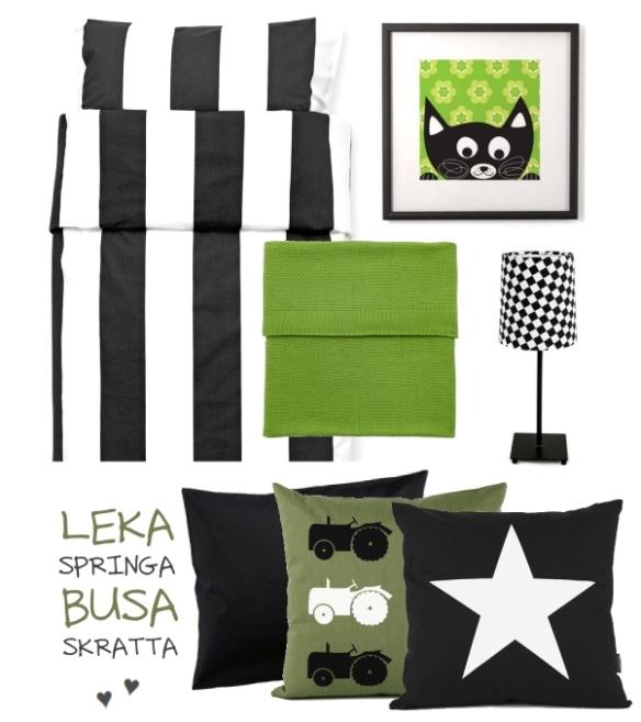 Barnrum i svart och grönt