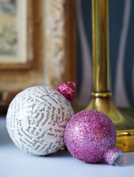 newsprint christmas ornaments